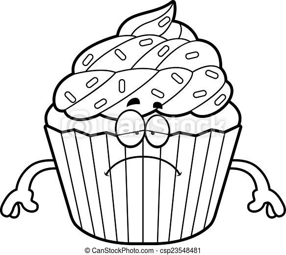 sad cartoon cupcake a cartoon illustration of a cupcake looking sad