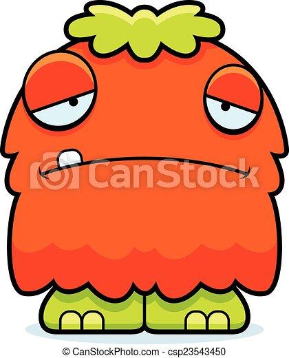 Sad Cartoon Fluffy Monster A Cartoon Illustration Of A Fluffy Monster Looking Sad