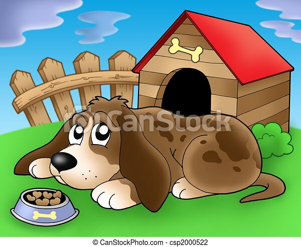 Sad dog in front of kennel 2 - csp2000522
