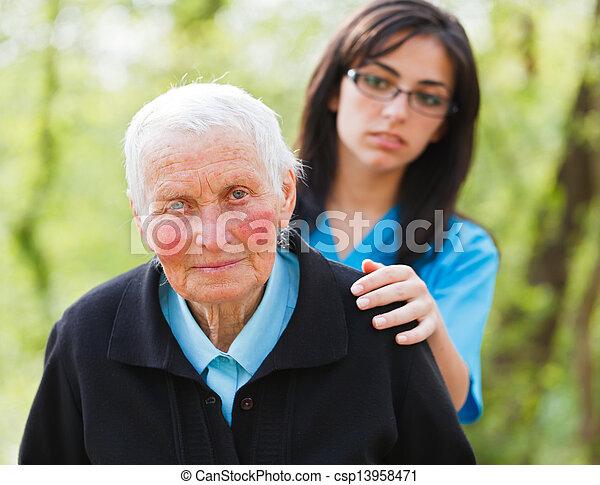 Sad Elderly Lady - csp13958471