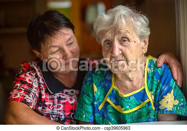 Sad elderly woman - csp39605963