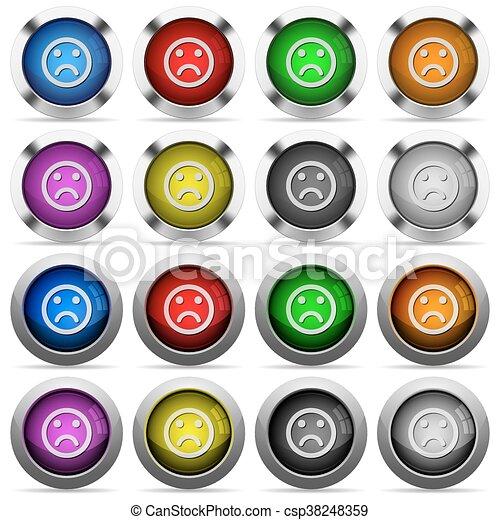 Sad emoticon glossy button set - csp38248359