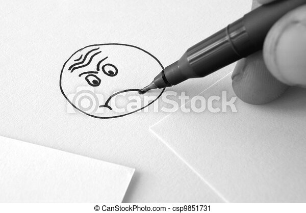 Line Drawing Of Sad Face : Sad face drawing hand and pen a on paper