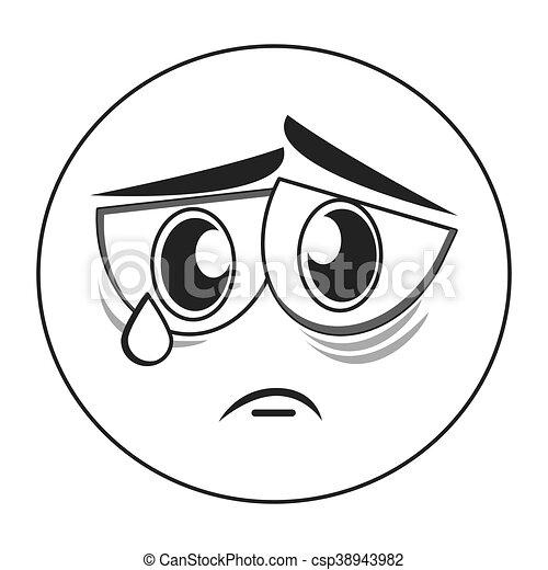Flat Design Sad Face Emoticon Icon Vector Illustration