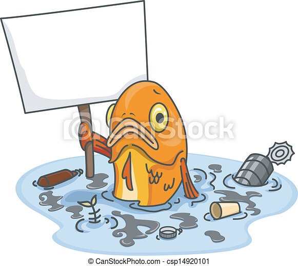 sad fish in polluted water with blank board illustration of sad rh canstockphoto com water pollution clipart water pollution clipart