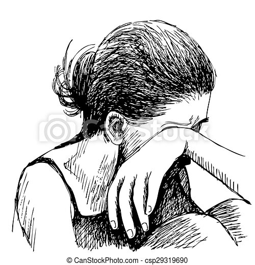 Human Emotion Sketch Sad Girl Hand Drawn On White Background