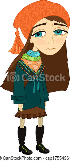 sad girl standing alone and not smiling template isolated vector rh canstockphoto com sad teenage girl clipart sad girl clipart free