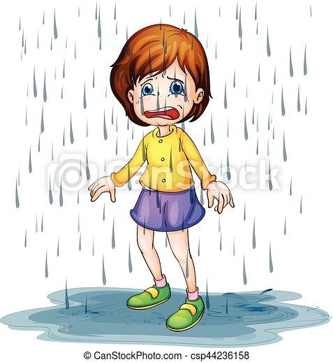 sad girl standing in the rain illustration