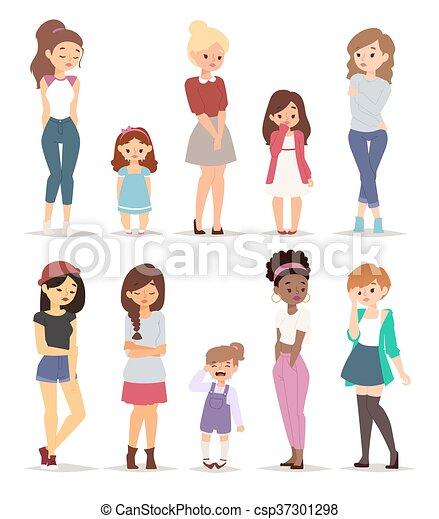 Sad girls vector illustration. - csp37301298
