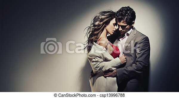 Sad guy enjoying his beloved girlfriend - csp13996788