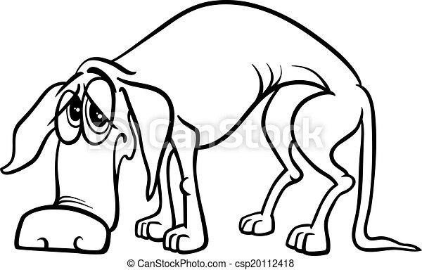 Sad Homeless Dog Coloring Page