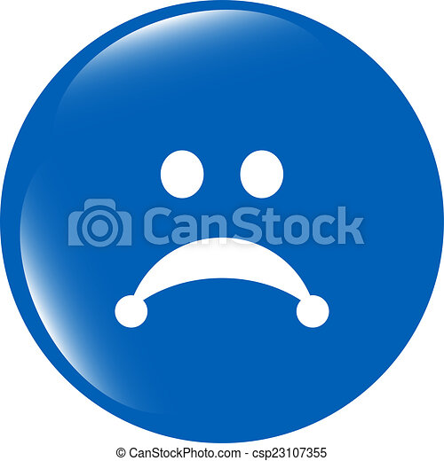 Sad icon (button) isolated on white background - csp23107355