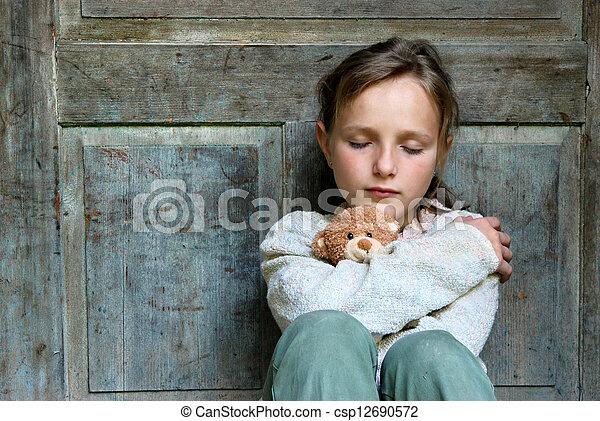 Sad little girl - csp12690572