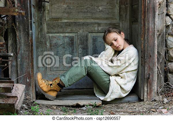Sad little girl - csp12690557