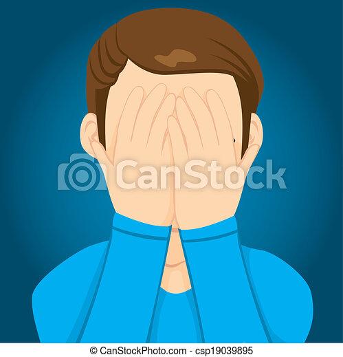 Sad Man Covering Face - csp19039895