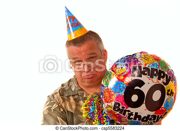 Sad Man Holding A Balloon For 60th Birthday Party