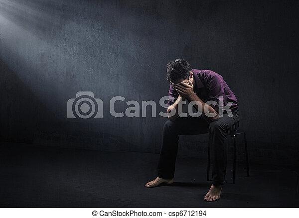 Sad man in a empty room - csp6712194