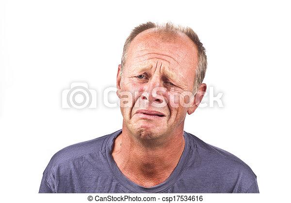 Sad man on a white background - csp17534616