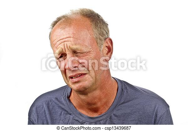 Sad man on a white background - csp13439687