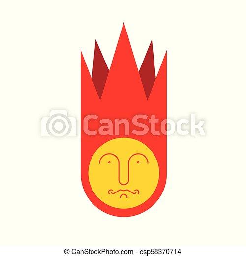 Sad Meteorite isolated. Fire ball geometry. Vector illustration. - csp58370714