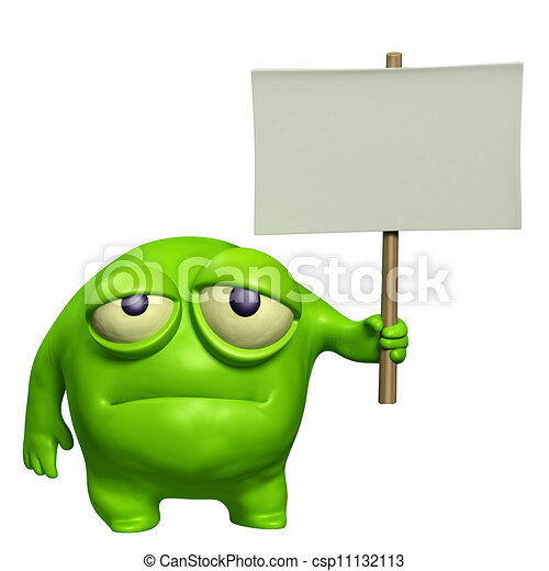 sad monster holding placard - csp11132113