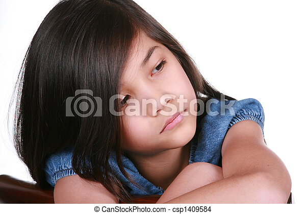Sad nine year old girl - csp1409584