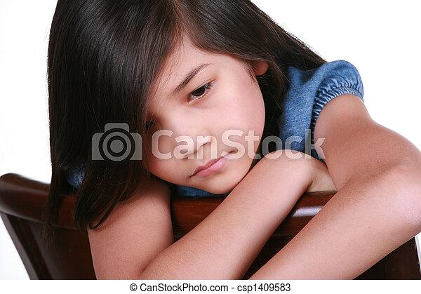 Sad nine year old girl - csp1409583