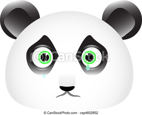 Line Drawing Of Sad Face : Sad panda face with tears in his eyes vector illustration