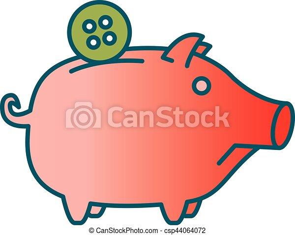 sad piggy bank or money box symbol thin line linear vector rh canstockphoto com pig clip art free pig clip art free download