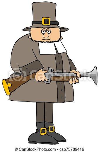 Symbolic Pilgrim Man   Thanksgiving Clipart