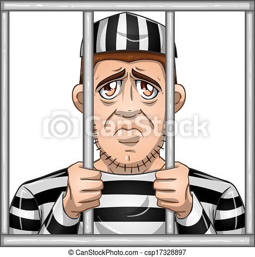 Sad Prisoner Behind Bars - csp17328897