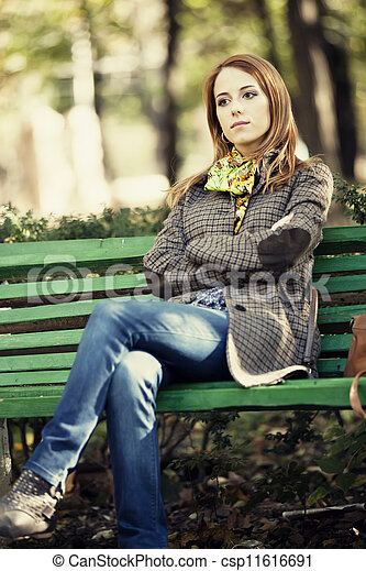 Attentively would redhead on bench never impossible