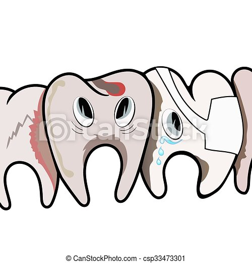 Sad Rotten Teeth Sad Rotten Dirty Teeth Vector Illustration Eps 10