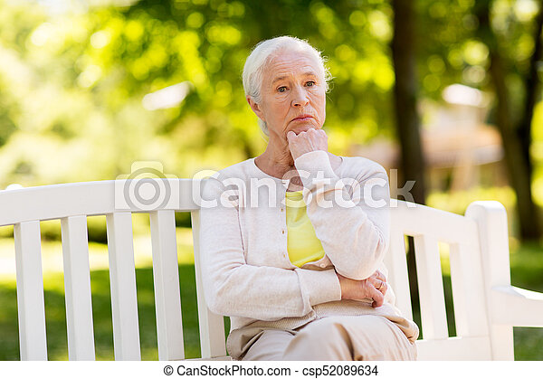 Depression Sad Senior Woman Sitting On Bench At Summer Park Csp52089634 Can Stock Photo Old Age Retirement And People Concept Sad Senior Woman Sitting On