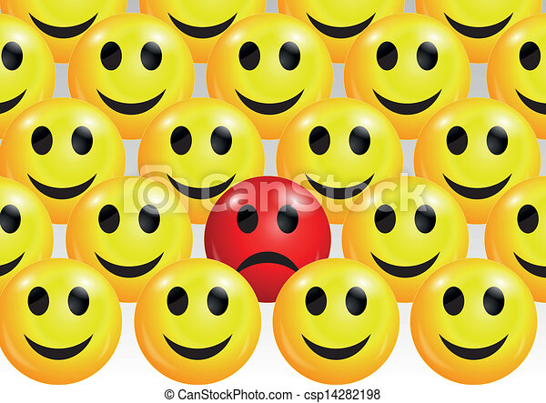 Vector Illustration Of Sad Smiley Face Among Happy Ones