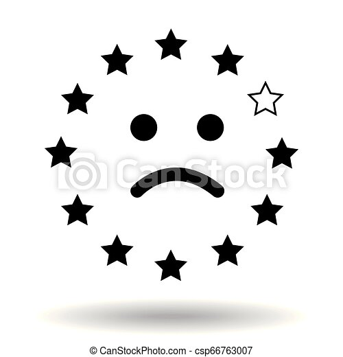 Sad smiley face, made of the European Union flag. Representation of a unhappy face from eu stars with one missing star representing Great Britain. Symple black icon brexit symbol concept. Illustration. Eps10 Vector - csp66763007