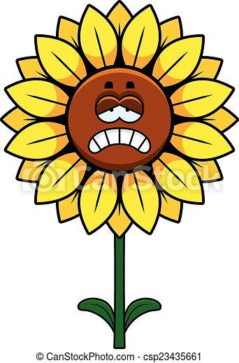 Sad sunflower. A cartoon illustration of a sunflower ...