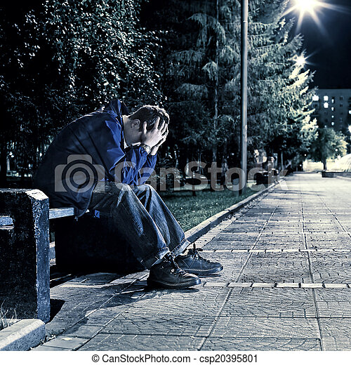 Sad Teenager in the Park - csp20395801