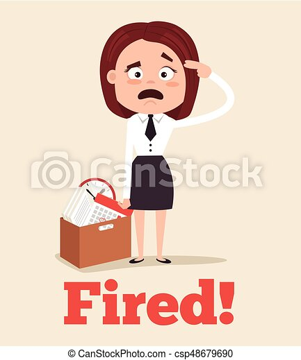 sad unhappy office worker woman character fired from job and leaving office with box vector - Losing Job Getting Fired From Job