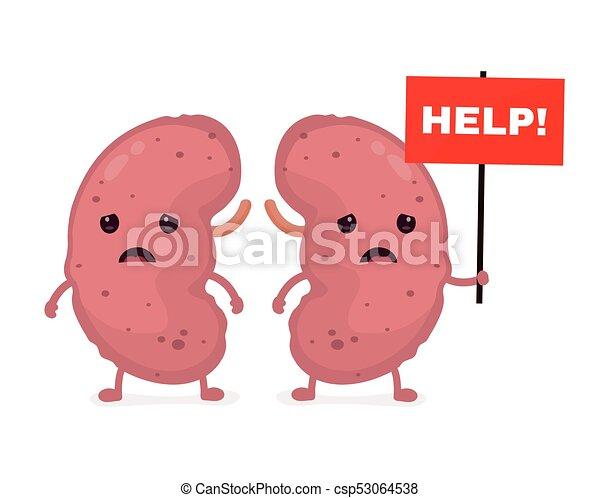 Sad unhealthy sick kidneys vector illustration.