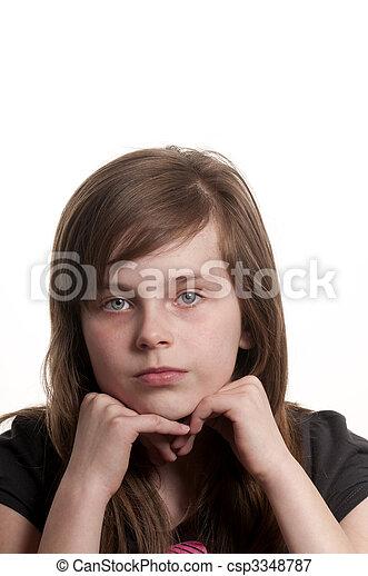 Sad young girl - csp3348787