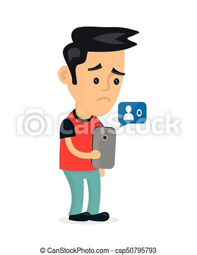 Sad young man holding smartphone - csp50795793