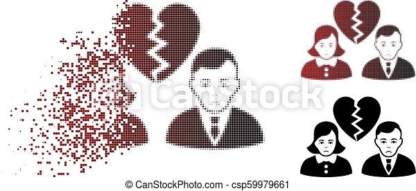 Sadly Sparkle Pixel Halftone Divorce People Icon Sad Divorce People Icon In Dissolved Pixelated Halftone And Undamaged