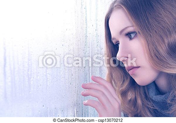 Sadness Girl At The Window In The Rain Sad Girl Is Bored And Sadness At The Window In The Rain Canstock