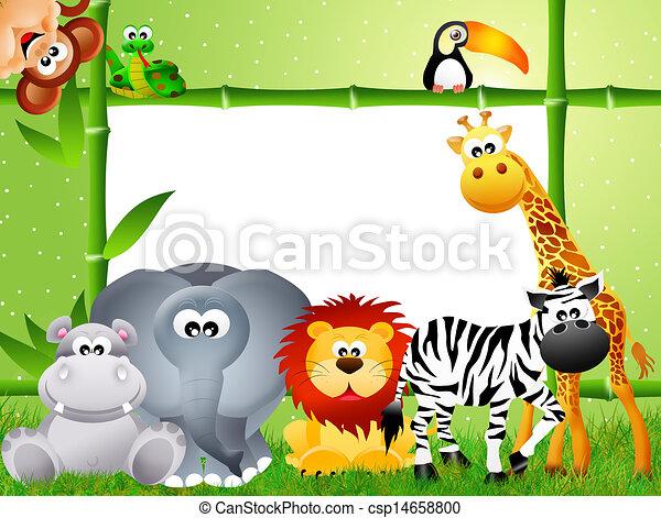 Safari animal cartoon. Safari animal and frame bamboo.