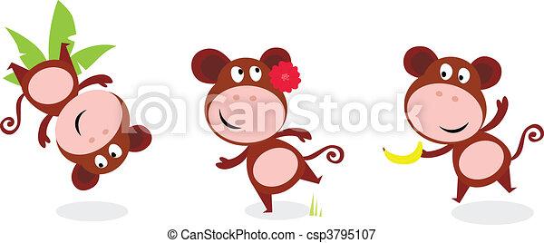 Safari animals: Brown cute monkey - csp3795107