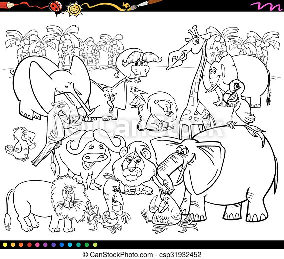 - Safari Animals Coloring Book. Black And White Cartoon Illustration Of Scene  With African Safari Animals Characters Group For