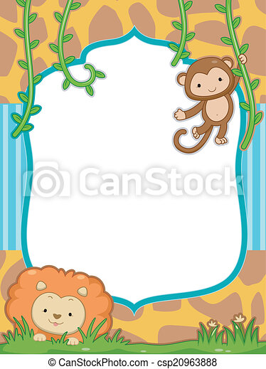 Safari frame. Frame illustration featuring a cute lion and a monkey.
