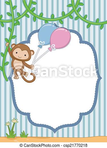 Safari frame. Frame illustration featuring a monkey hanging to a vine.