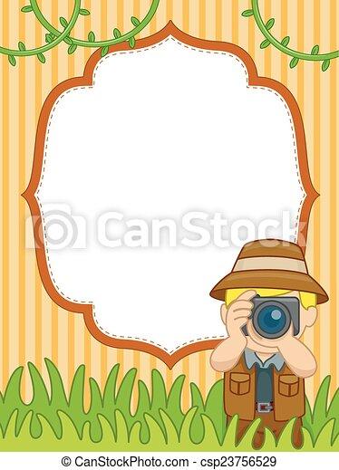 Safari picture frame. Background illustration of a man in safari ...